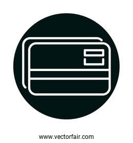 credit card block and line style icon vector design