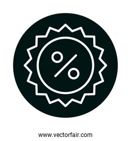 sale percentage seal stamp block and line style icon vector design