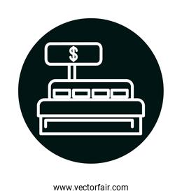 cash register block and line style icon vector design
