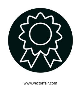 Isolated seal stamp with ribbon block and line style icon vector design