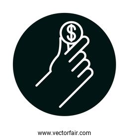 hand holding coin block and line style icon vector design