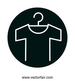 Tshirt with hanger block and line style icon vector design