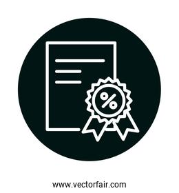 sale percentage seal stamp and document block and line style icon vector design