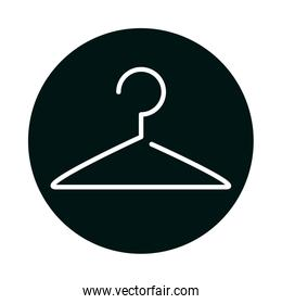 Cloth hanger block and line style icon vector design
