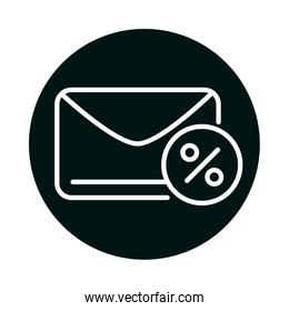 envelope with sale percentage label block and line style icon vector design