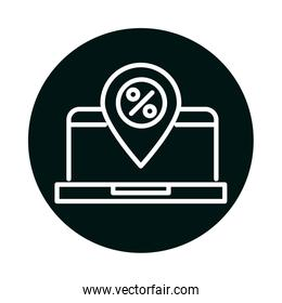 laptop with sale percentage mark block and line style icon vector design