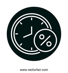 clock with sale percentage label block and line style icon vector design