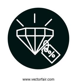 diamond with sale percentage label block and line style icon vector design