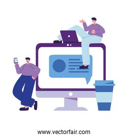 Seated men with smartphone laptop and computer chatting vector design