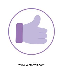 Isolated thumb up inside circle vector design