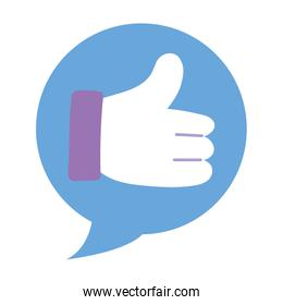 Isolated thumb up inside bubble vector design