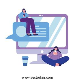 Seated women with smartphone and computer chatting vector design