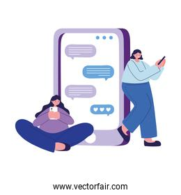 Seated women with smartphone chatting vector design