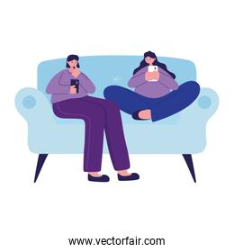 Seated women on couch with smartphone chatting vector design