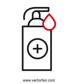 Soap dispenser and drop with cross line bicolor style icon vector design