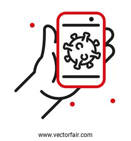 Hand holding smartphone with Covid 19 virus line bicolor style icon vector design