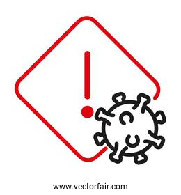 Warning banner with covid 19 virus line bicolor style icon vector design