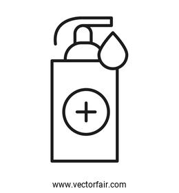 Soap dispenser and drop with cross line style icon vector design