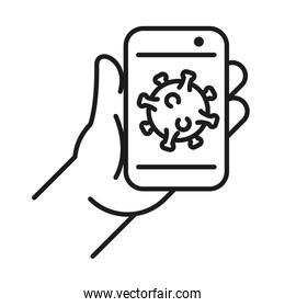 Hand holding smartphone with Covid 19 virus line style icon vector design