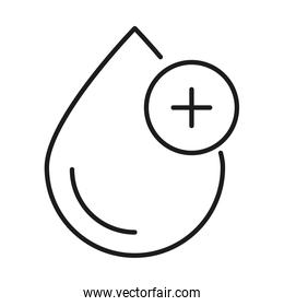 Drop with cross line style icon vector design