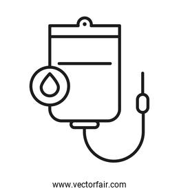 Blood bag and drop line style icon vector design