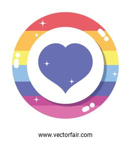 Isolated lgtbi seal stamp with heart vector design