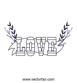 Striped love text with leaves vector design