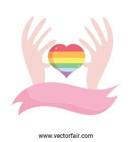 Isolated lgtbi heart with hands and ribbon vector design