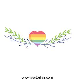 Isolated lgtbi heart with leaves vector design