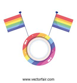 Isolated lgtbi seal stamp with flags vector design