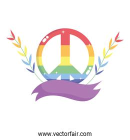 Isolated lgtbi love and peace with leaves vector design