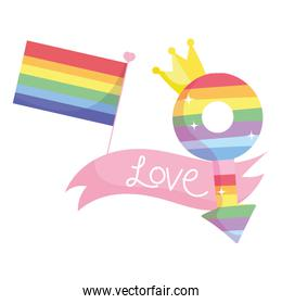 lgtbi flag male gender with crown and love ribbon vector design