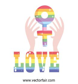 lgtbi love text and hands with female gender vector design
