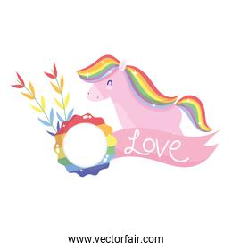 Isolated lgtbi horse with love ribbon vector design