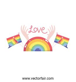 Isolated lgtbi flags with love text vector design