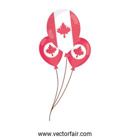 Canadian maple leaves inside balloons vector design