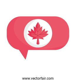 Canadian maple leaf inside bubble vector design