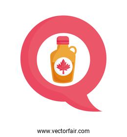 Canadian maple syrup inside bubble vector design
