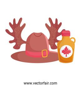 Canadian maple syrup hat and horns vector design