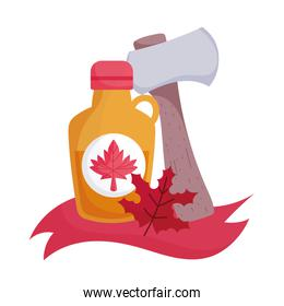 Canadian maple syrup and axe vector