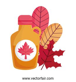 Canadian maple syrup and leaves vector design