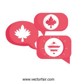 Canadian maple leaf inside bubbles vector design
