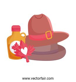 Canadian maple syrup leaf and hats vector design