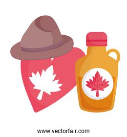 Canadian maple syrup heart and hat vector design