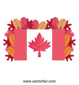 Isolated canadian flag with leaves vector design