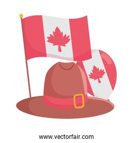 Isolated canadian flag with hat and balloon vector design