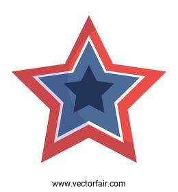 Isolated blue and red star shape