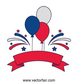 Blue white and red balloons with ribbon and fireworks vector design