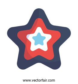 Blue and red star shape isolated icon