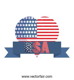 Isolated usa flag heart with ribbon vector design